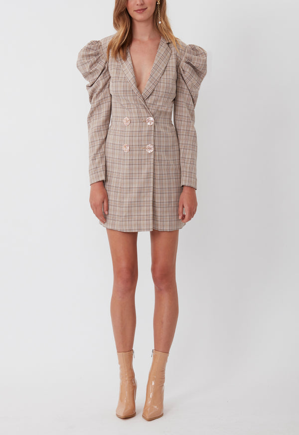 CHECK MATE BLAZER DRESS BROWN