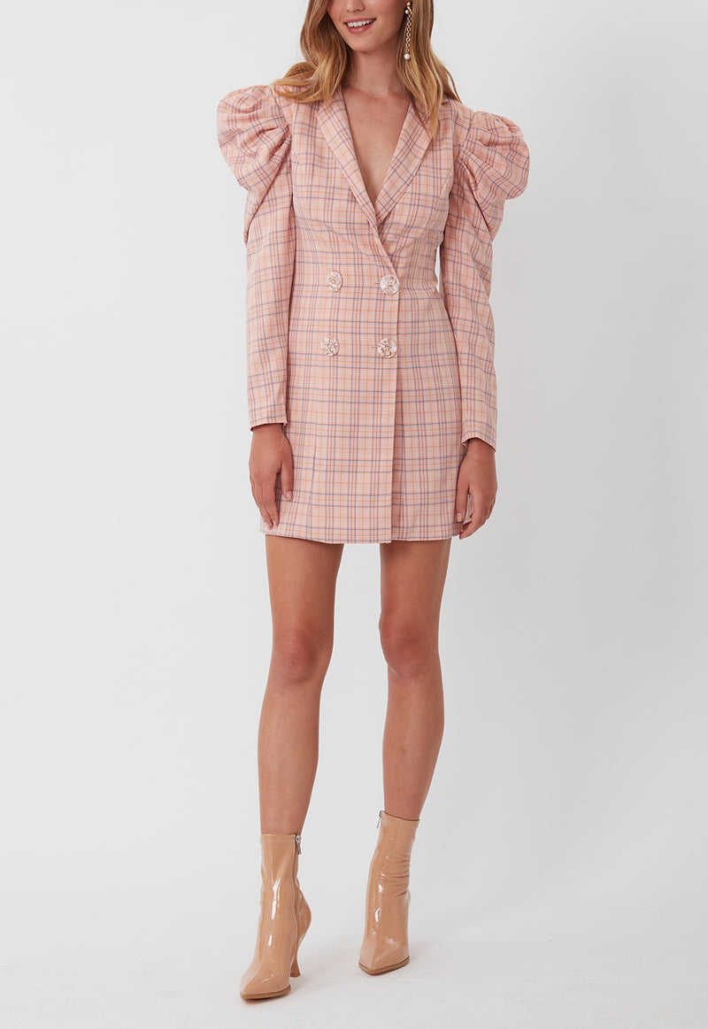 CHECK MATE BLAZER DRESS PINK