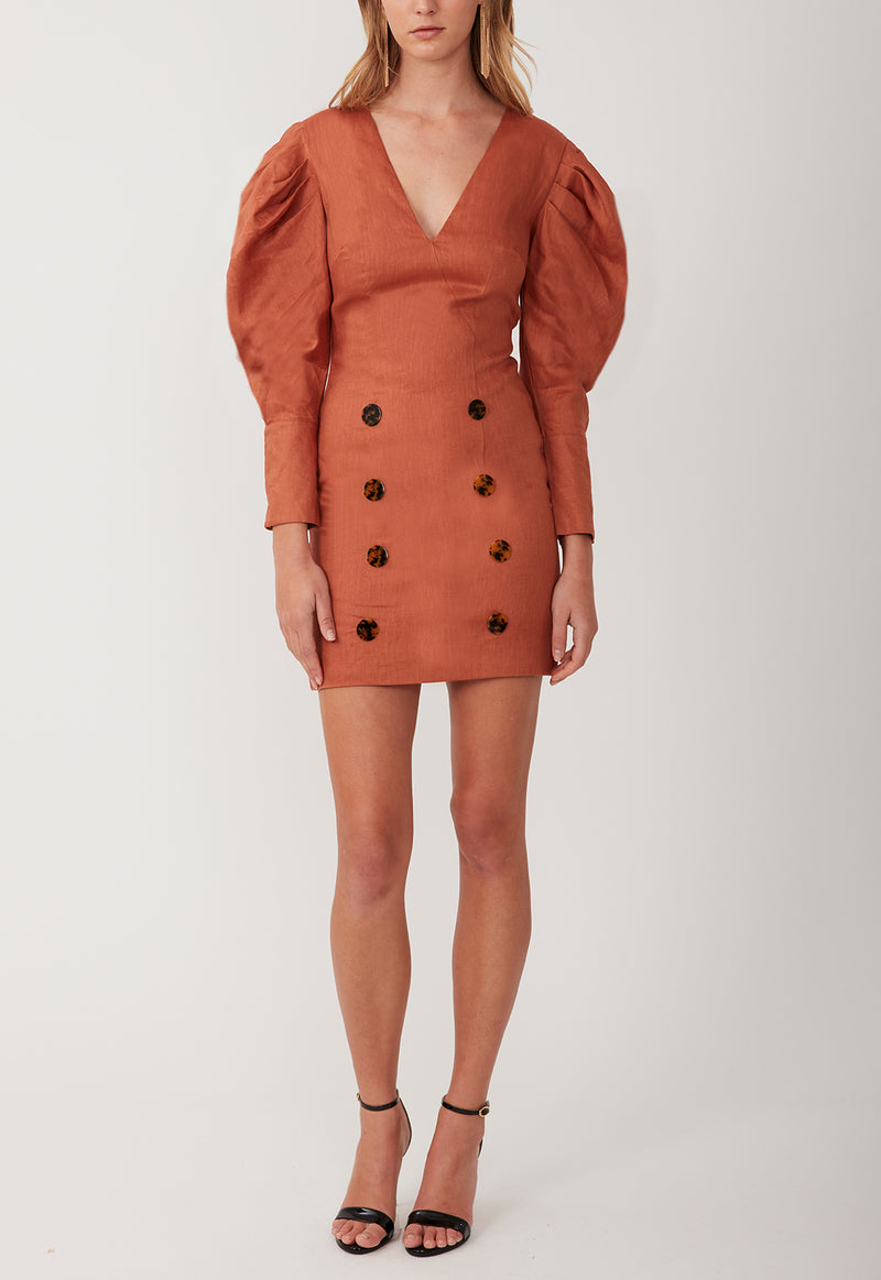 CLOUD 9 MINI DRESS BURNT ORANGE