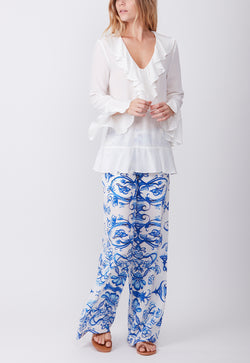 SILK BOHO BLOUSE WHITE
