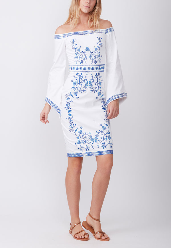 EMBROIDERED COTTON DRESS WHITE