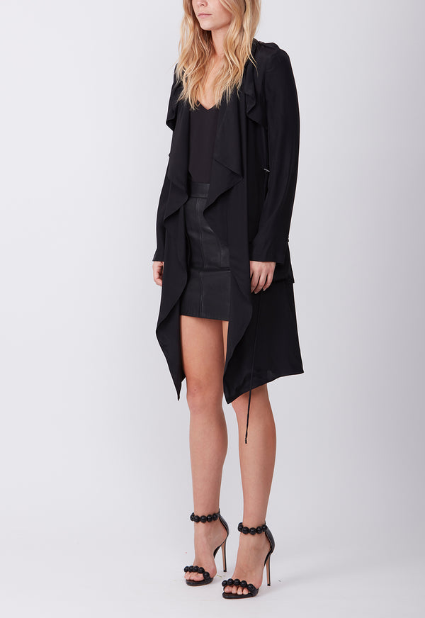 SILK TRENCH BLACK