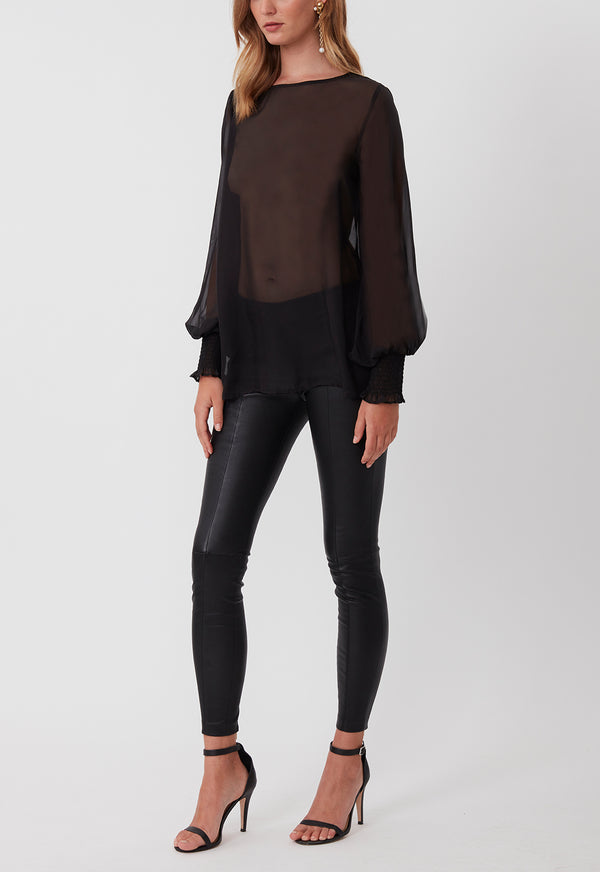 EVERYDAY SILK CHIFFON BLOUSE BLACK