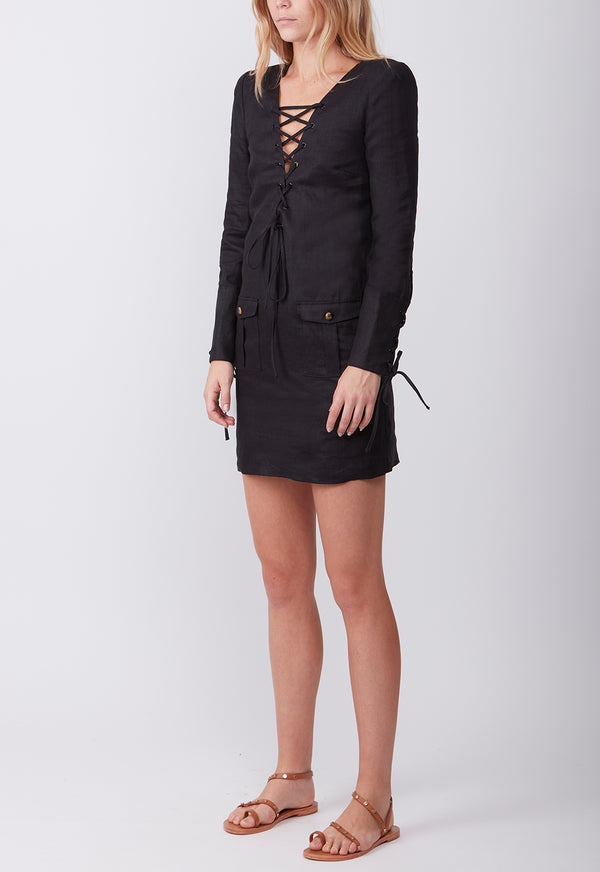 EXPEDITION SHIRT DRESS BLACK