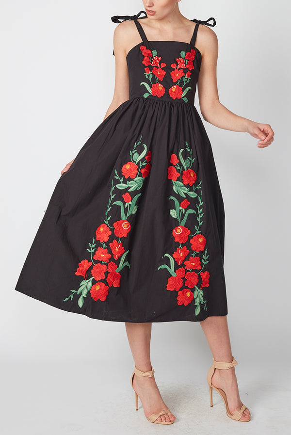 FLORAL BOW TIE DRESS BLACK