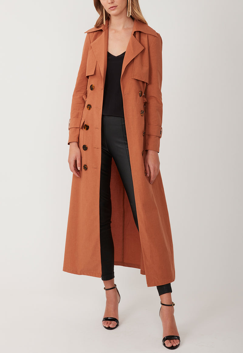 GADGET TRENCH LONG BURNT ORANGE