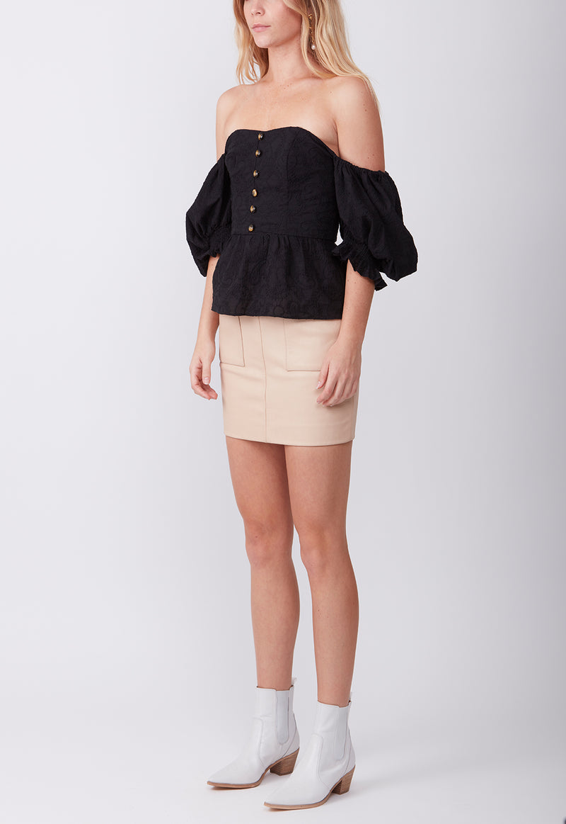 EMBROIDERED GYPSET BLOUSE BLACK