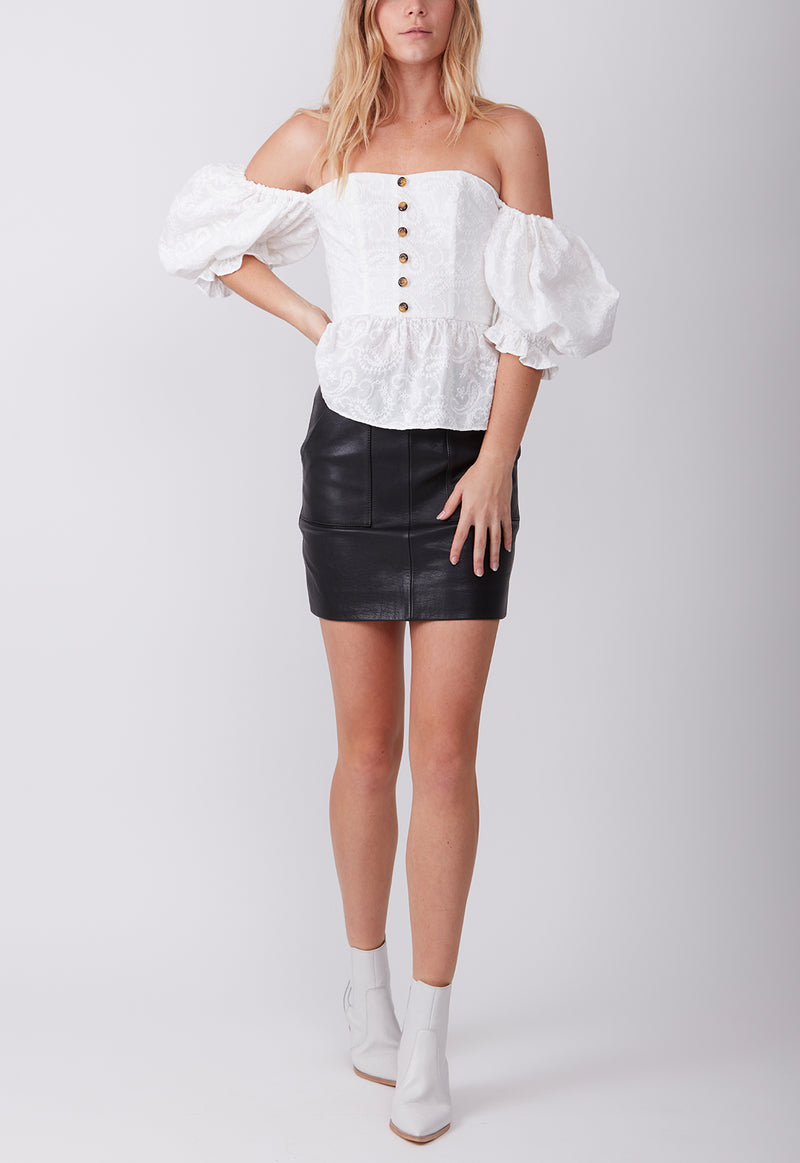 EMBROIDERED GYPSET BLOUSE WHITE