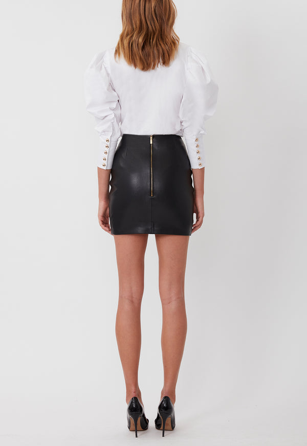 Leather Mini Skirt Black