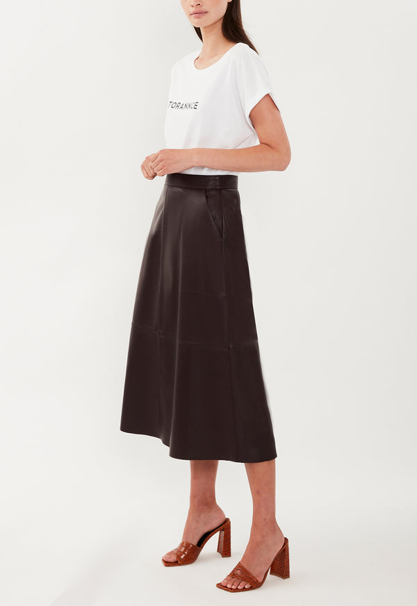 LOREN LEATHER SKIRT BLACK CHERRY