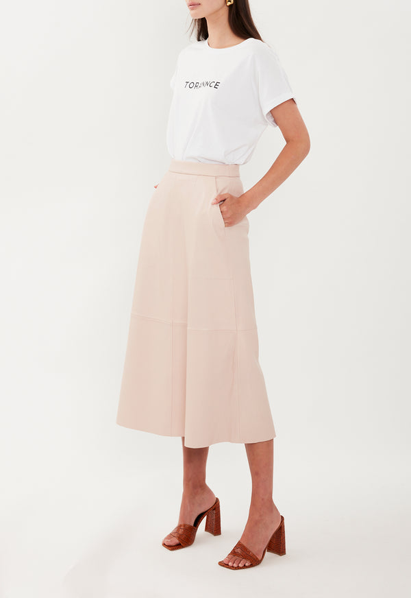 LOREN LEATHER SKIRT BLUSH