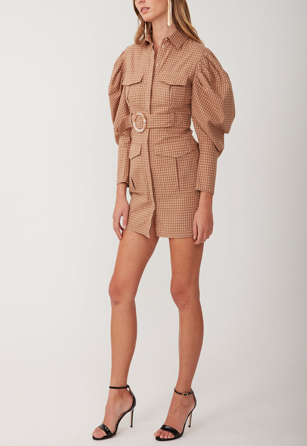 MARCH ON MINI DRESS BROWN CHECK