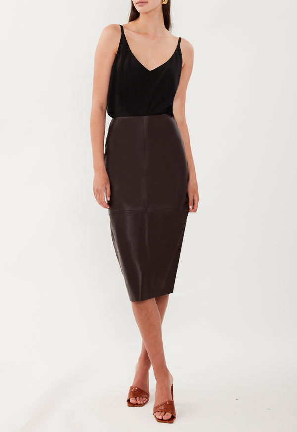 MID LEGTH PENCIL SKIRT BLACK CHERRY