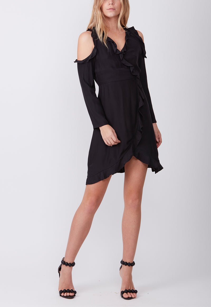 MIDNIGHT SILK WRAP DRESS