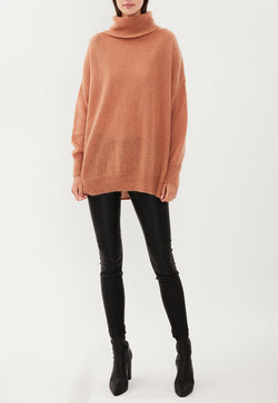 MOHAIR ROLL NECK CAMEL