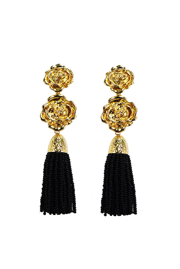 ROSE TASSEL EARRING BLACK