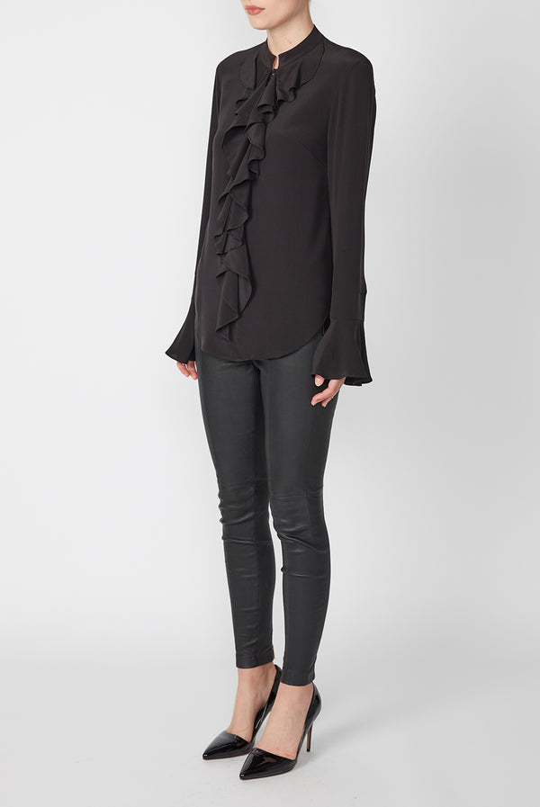 SILK RUFFLE SHIRT BLACK