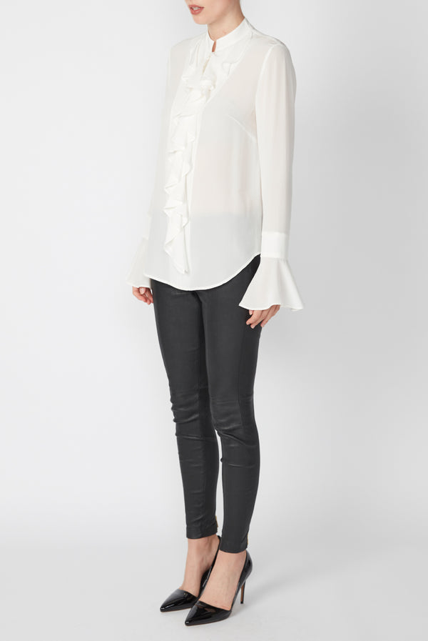 SILK RUFFLE SHIRT WHITE