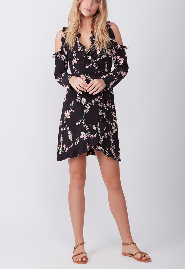 SILK RUFFLE MINI DRESS