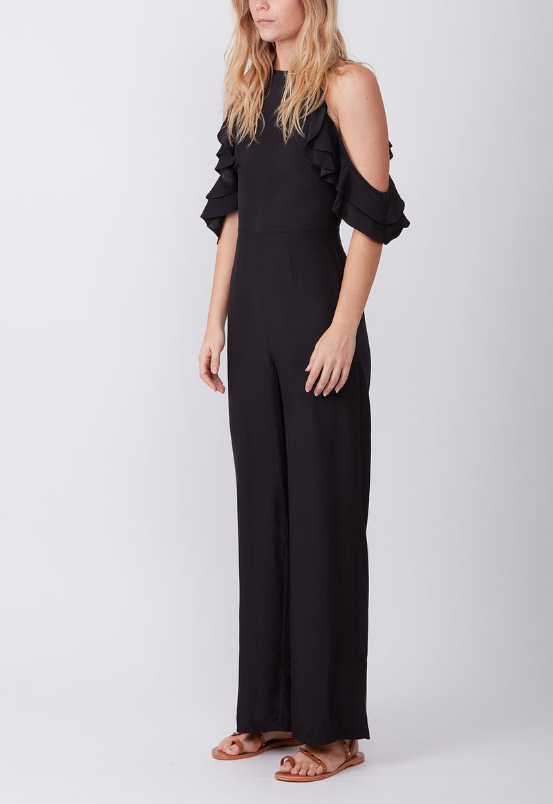 SILK RUFFLE JUMPSUIT BLACK