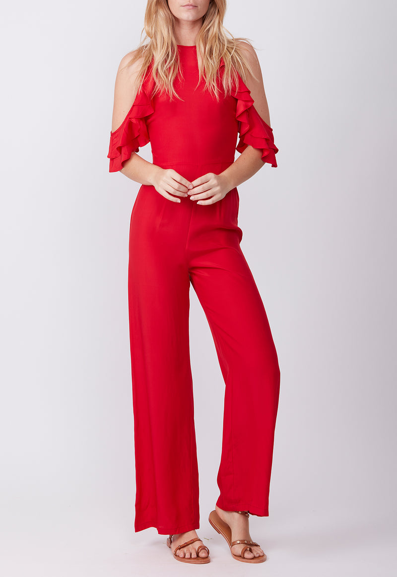 SILK RUFFLE JUMPSUIT RED