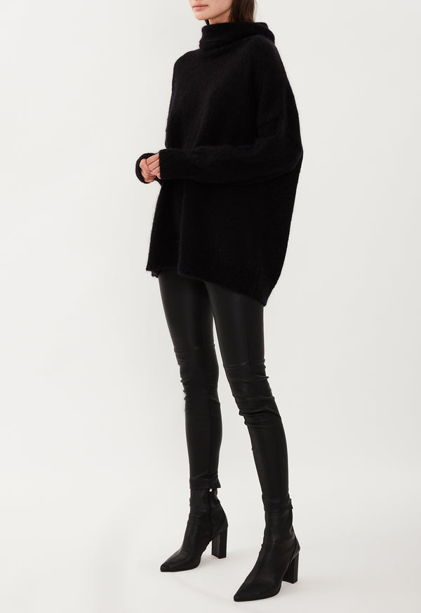 MOHAIR ROLL NECK BLACK