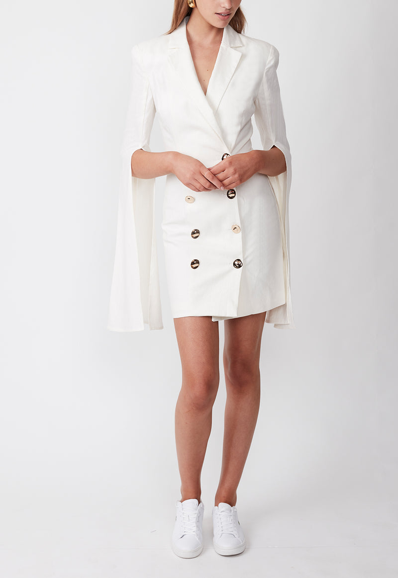 TOPEZ BLAZER DRESS WHITE