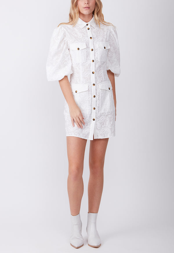 UTILITY POCKET DRESS WHITE