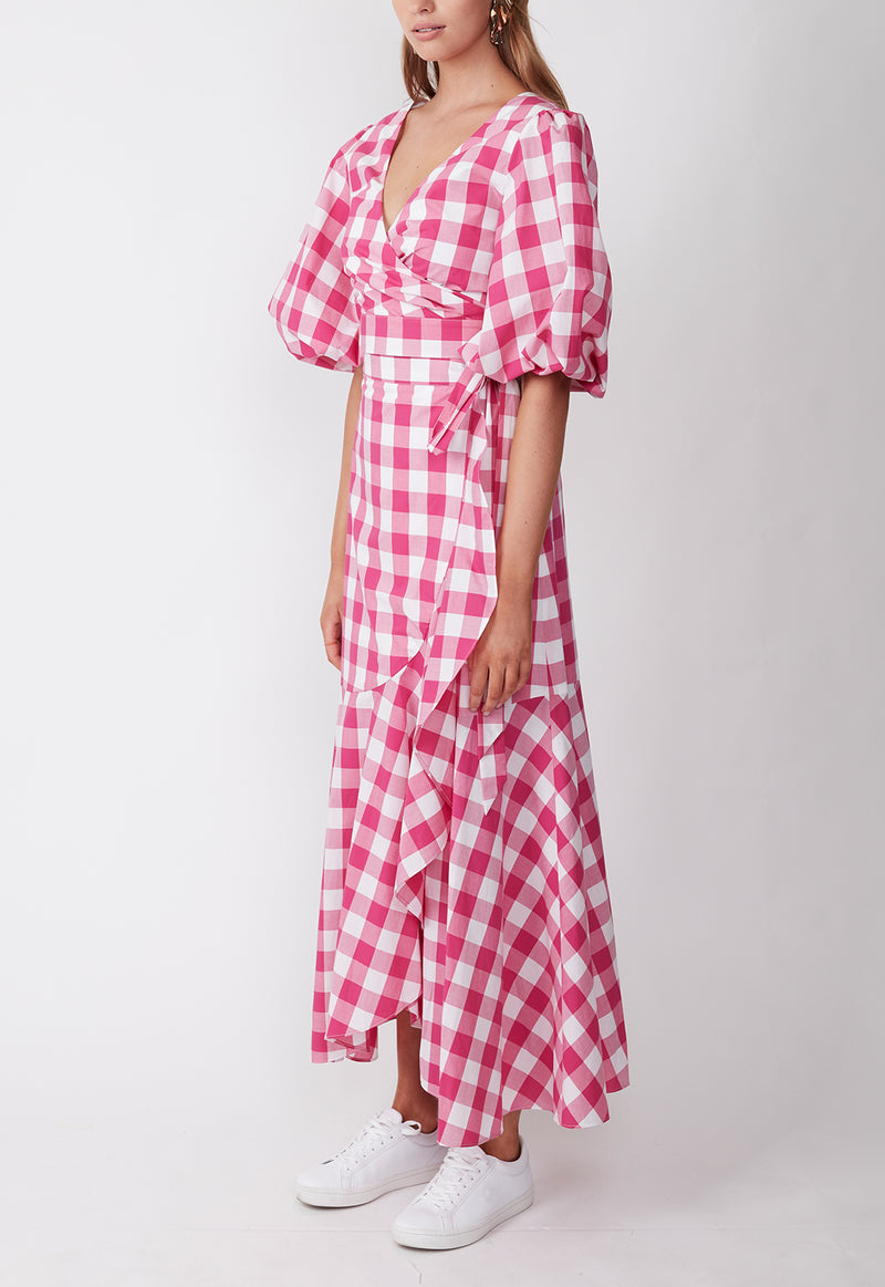 THE WEEKEND WRAP BLOUSE GINGHAM