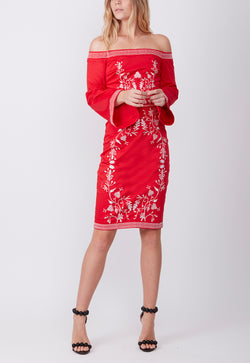 EMBROIDERED COTTON DRESS RED
