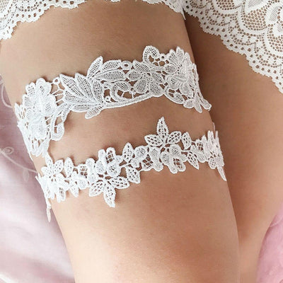 2pcs set Wedding Garters Lace Embroidery Floral Sexy Garters  for Women/Bride Thigh Ring Bridal Leg Garter