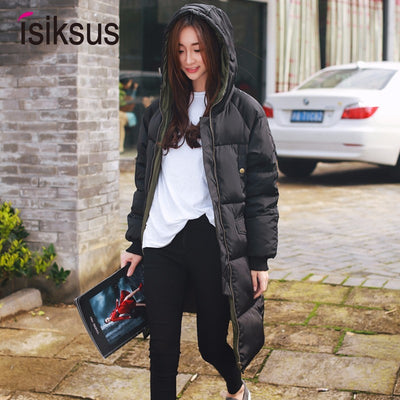 Isiksus Padded Warm Down Jackets Womens Winter Plus Size Long Padded Black Hooded Cotton Coat Jacket 2018 Parkas for Women WP017