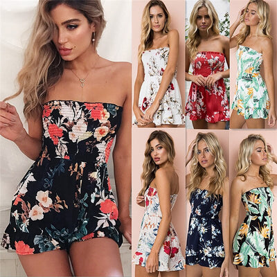New 2019 Sexy Sleeveless Slash Neck Playsuits Fashion Off Shoulder Floral Print Casual Rompers Female Backless Loose Playsuits