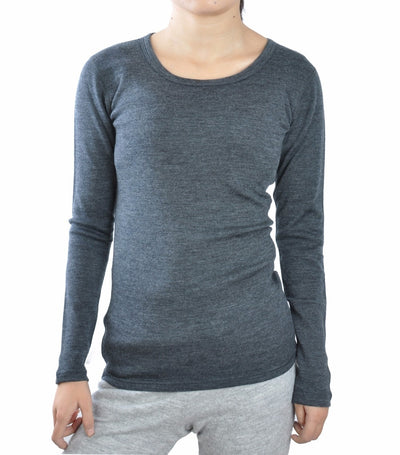 Women's midweight crew Next to Skin (NTS) base layer 100% pure merino wool tops clothing thermal warm underwear