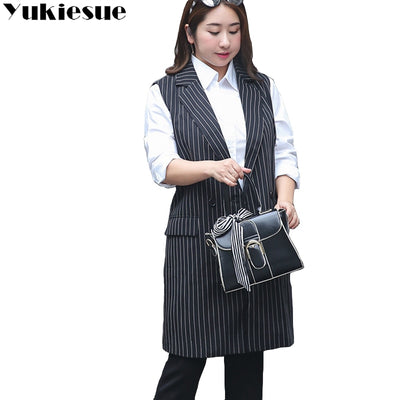 XL-9XL 2018 new Korean version of the fertilizer plus size women's long section lapel vest 200 pounds women coat  long vest
