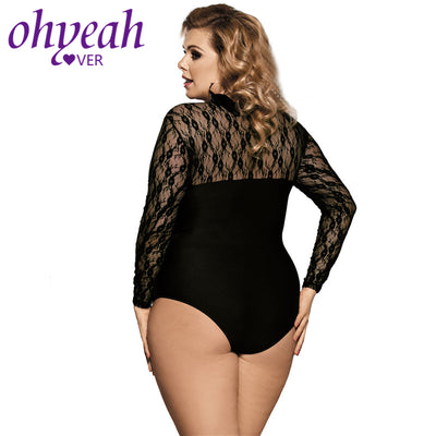 Ohyeahlover Body Femme Overalls for Women Fashion One Piece Playsuit RM80372 Plus Size Long Sleeve Black Obstructed Teddy Lace