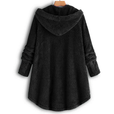 Feitong Women Button Coat Fluffy Tail Tops Hooded Pullover Loose Casual Jackets Long Sleeve Outwear Female Elegant Wool Coat