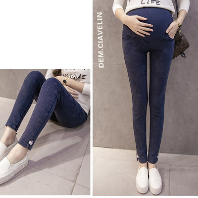 Elastic Waist Pregnancy Trousers Gravida Denim Maternity Pencil Pants Jeans For Pregnant Women Clothes Maternity Clothing
