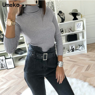 New Fashion 2019 Bodysuit Womens Sexy Turtleneck Long Sleeve Bodycon Knitted Casual Ladies Bodysuits Autumn and Winter