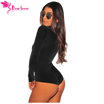 Dear Lover Autumn Bodycon Bodysuit Women Black Long Sleeve Turtleneck Romper Winter Jumpsuit Top One Piece Clothes Spring C32284