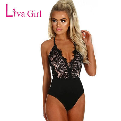 Liva Girl Black Sexy Eyelash Lace Bodysuit For Women 2019 High Waist V Neck Sleeveless Body Top Bodycon Jumpsuits Female Rompers