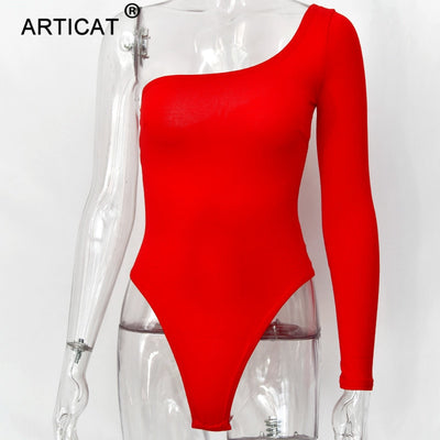 Articat One Shoulder Sexy Bodysuit Women Long Sleeve Backless Autumn Bodysuits Casual Skinny Rompers Womens Jumpsuit Playsuit