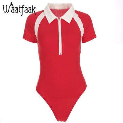 Waatfaak Turndown collar Zipper Up Bodycon Jumpsuit Red Patchwork Red Skinny Short Sleeve Cotton Casual Women Bodysuit OL Ladies