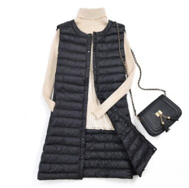 Women Autumn Winter Sleeveless Vest Female Covered Button Windproof  Lightweight Long Waistcoat Warm Plus Size Vest SIZE M-3XL