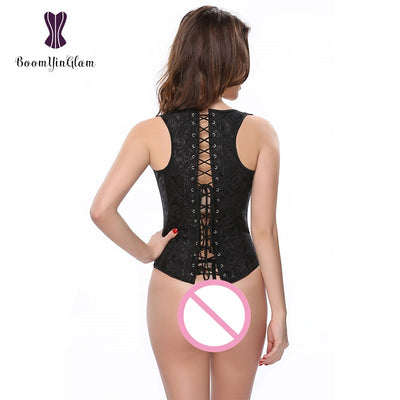 Plus Size Personality Straps Steel boned Women Vest Slimming Waist Cincher Shaper Brocade Body Shapewear Corset 824#