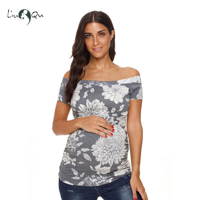 Women Maternity Clothes Tops Tee Off Shoulder Pregnancy Mama T-Shirt Short Sleeve Tee Pregnant Clothing Ropa Mujer