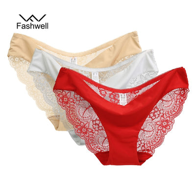 New Sexy Lace Plus size Women Panties Briefs Solid Seamless low rise Lingerie Underwear S-XXL 3 pieces/lot
