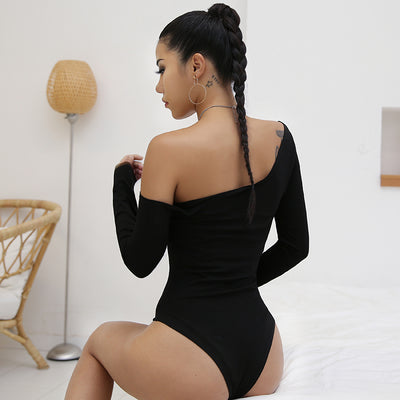 Rapwriter Sexy One Shoulder Slope Neckline Cotton Sheer Bodysuit Women 2019 Spring Long Sleeve One Piece Open Crotch Bodysuit