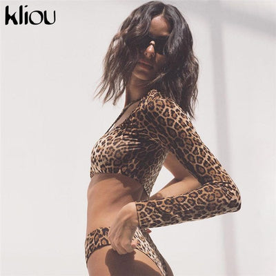 Kliou 2018 New Women Sexy Leopard Hollow Out Bodysuits One Shoulder Full Sleeve Women Casual Leopard Sexy Party Club Bodysuits