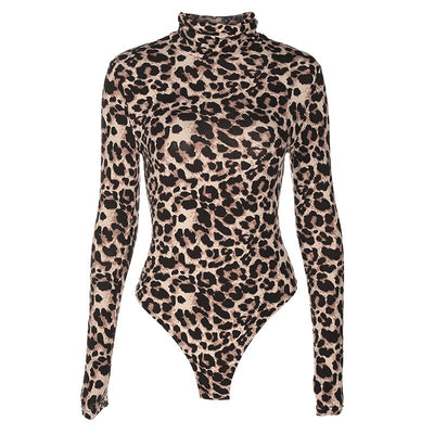Leopard Bodysuit for Women Sexy Bodycon Skinny Body Suit Turtleneck Long Sleeve Playsuit Printed Romper Jumpsuits